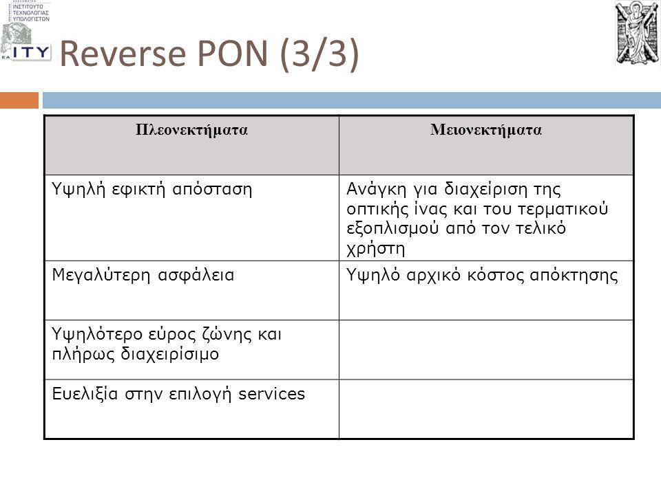 Reverse PON (3/3) ΠλεονεκτήματαΜειονεκτήματα Υψηλή εφικτή απόστασηΑνάγκη για διαχείριση της οπτικής ίνας και του τερματικού εξοπλισμού από τον τελικό
