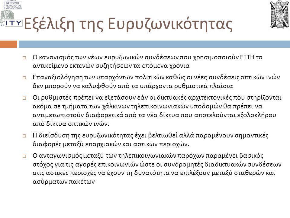 Εξέλιξη της Ευρυζωνικότητας  Ο κανονισμός των νέων ευρυζωνικών συνδέσεων που χρησιμοποιούν FTTH το αντικείμενο εκτενών συζητήσεων τα επόμενα χρόνια 