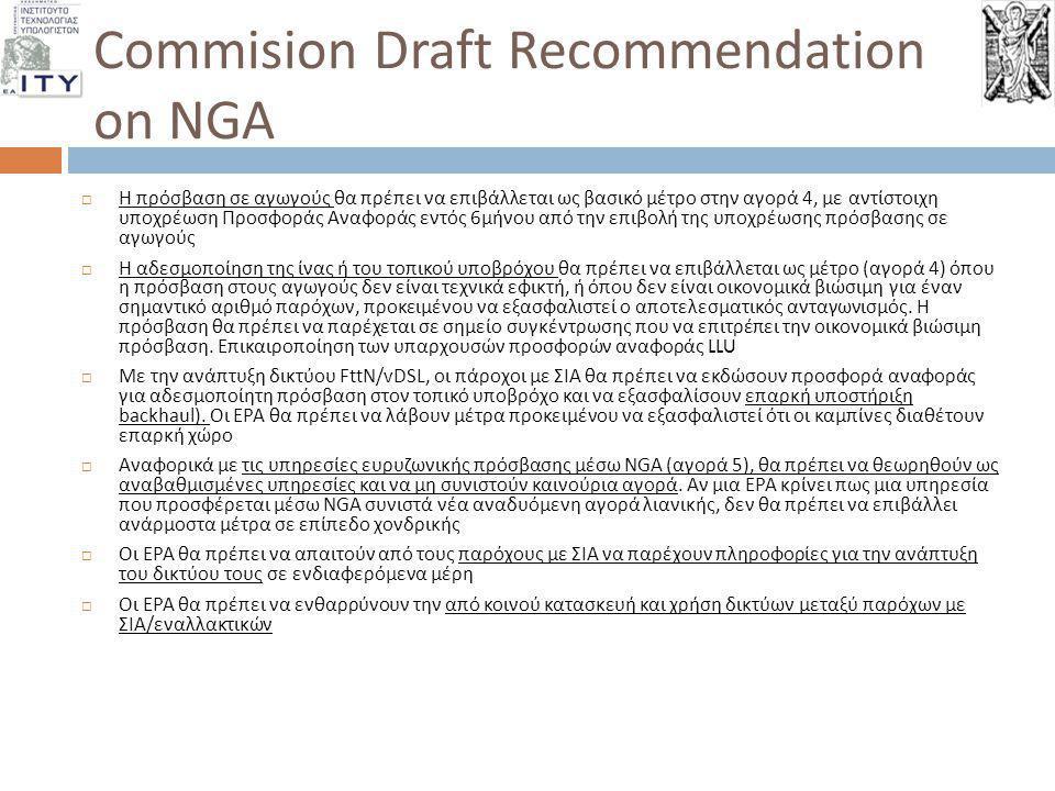 Commision Draft Recommendation on NGA  Η πρόσβαση σε αγωγούς θα πρέπει να επιβάλλεται ως βασικό μέτρο στην αγορά 4, με αντίστοιχη υποχρέωση Προσφοράς