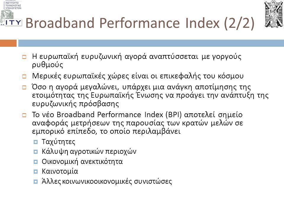 Broadband Performance Index (2/2)  Η ευρωπαϊκή ευρυζωνική αγορά αναπτύσσεται με γοργούς ρυθμούς  Μερικές ευρωπαϊκές χώρες είναι οι επικεφαλής του κό