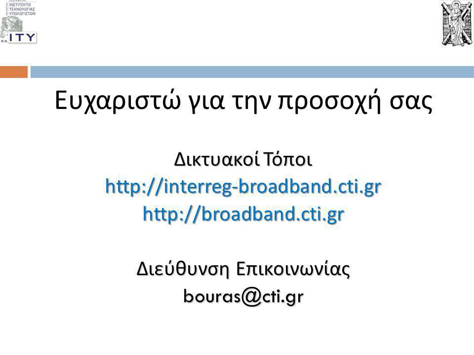 Ευχαριστώ για την προσοχή σας ΔικτυακοίΤόποι Δικτυακοί Τόποιhttp://interreg-broadband.cti.grhttp://broadband.cti.gr Διεύθυνση Επικοινωνίας bouras@cti.