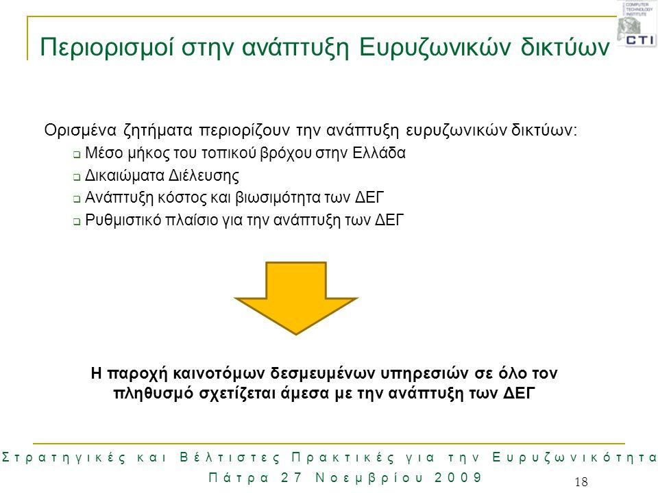 Στρατηγικές και Βέλτιστες Πρακτικές για την Ευρυζωνικότητα Πάτρα 27 Νοεμβρίου 2009 18 Περιορισμοί στην ανάπτυξη Ευρυζωνικών δικτύων Ορισμένα ζητήματα