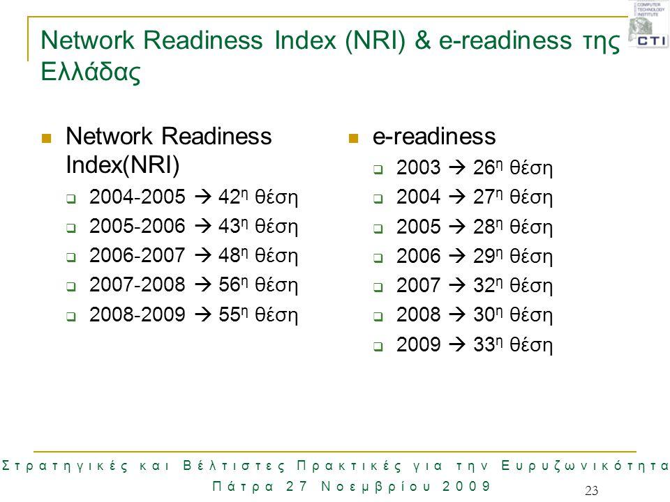 Στρατηγικές και Βέλτιστες Πρακτικές για την Ευρυζωνικότητα Πάτρα 27 Νοεμβρίου 2009 Network Readiness Index (NRI) & e-readiness της Ελλάδας Network Rea