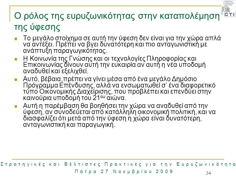 Στρατηγικές και Βέλτιστες Πρακτικές για την Ευρυζωνικότητα Πάτρα 27 Νοεμβρίου 2009 34 Ο ρόλος της ευρυζωνικότητας στην καταπολέμηση της ύφεσης Το μεγά