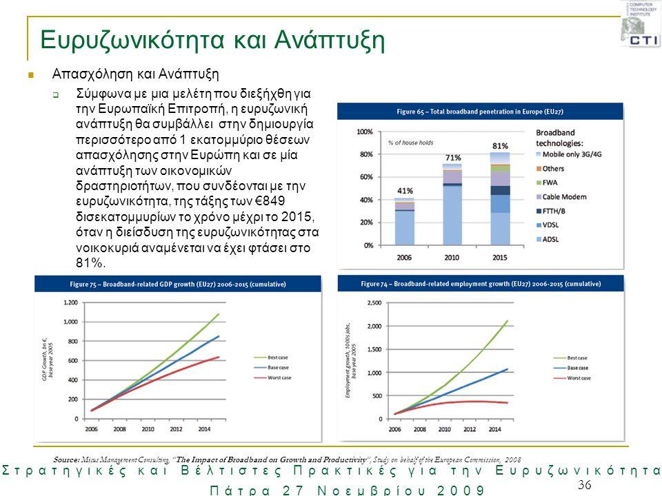36 Ευρυζωνικότητα και Ανάπτυξη Απασχόληση και Ανάπτυξη  Σύμφωνα με μια μελέτη που διεξήχθη για την Ευρωπαϊκή Επιτροπή, η ευρυζωνική ανάπτυξη θα συμβά