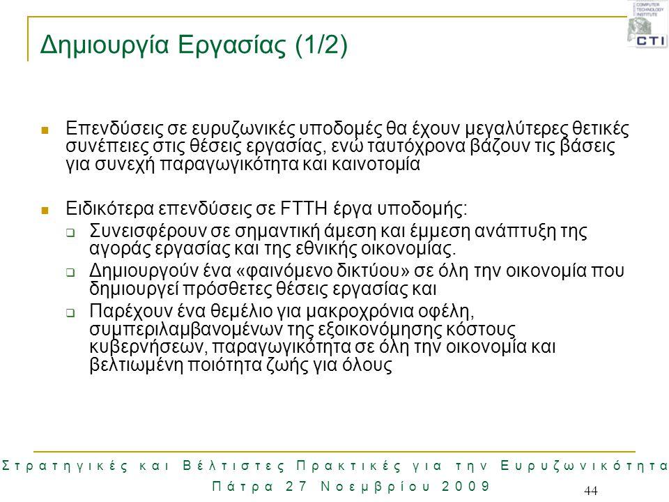 Στρατηγικές και Βέλτιστες Πρακτικές για την Ευρυζωνικότητα Πάτρα 27 Νοεμβρίου 2009 44 Δημιουργία Εργασίας (1/2) Επενδύσεις σε ευρυζωνικές υποδομές θα