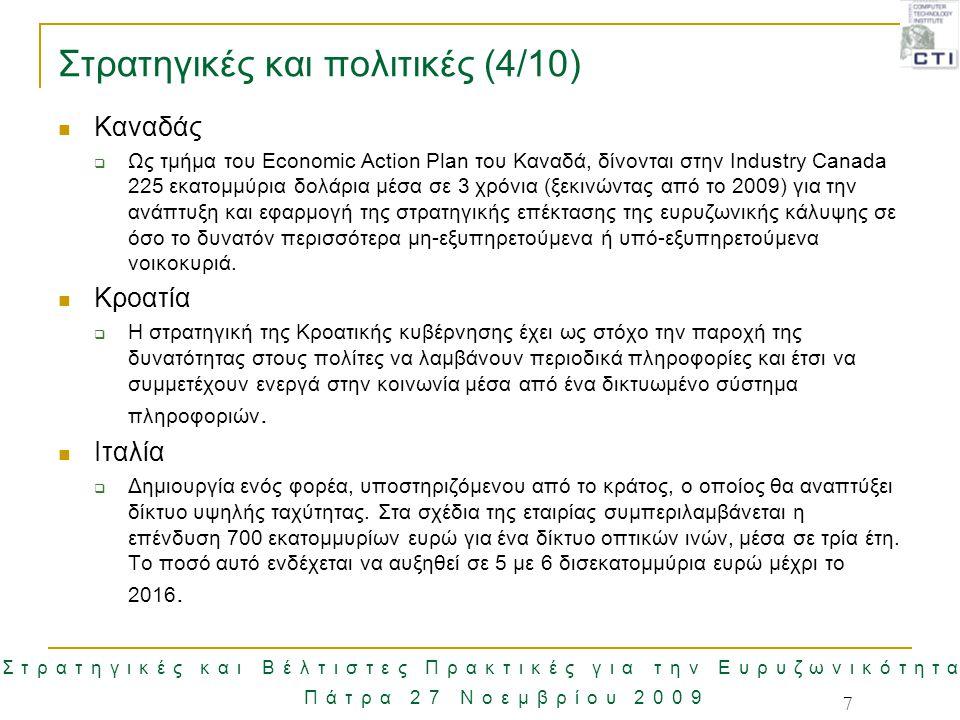 Στρατηγικές και Βέλτιστες Πρακτικές για την Ευρυζωνικότητα Πάτρα 27 Νοεμβρίου 2009 18 Περιορισμοί στην ανάπτυξη Ευρυζωνικών δικτύων Ορισμένα ζητήματα περιορίζουν την ανάπτυξη ευρυζωνικών δικτύων:  Μέσο μήκος του τοπικού βρόχου στην Ελλάδα  Δικαιώματα Διέλευσης  Ανάπτυξη κόστος και βιωσιμότητα των ΔΕΓ  Ρυθμιστικό πλαίσιο για την ανάπτυξη των ΔΕΓ Η παροχή καινοτόμων δεσμευμένων υπηρεσιών σε όλο τον πληθυσμό σχετίζεται άμεσα με την ανάπτυξη των ΔΕΓ