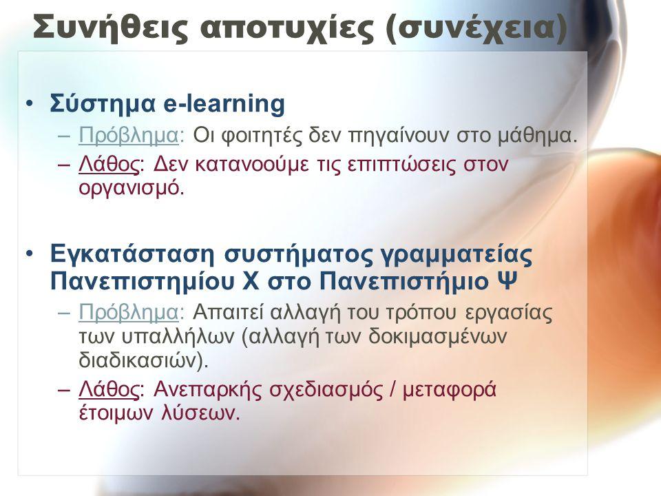 Συνήθεις αποτυχίες (συνέχεια) Σύστημα e-learning –Πρόβλημα: Οι φοιτητές δεν πηγαίνουν στο μάθημα. –Λάθος: Δεν κατανοούμε τις επιπτώσεις στον οργανισμό