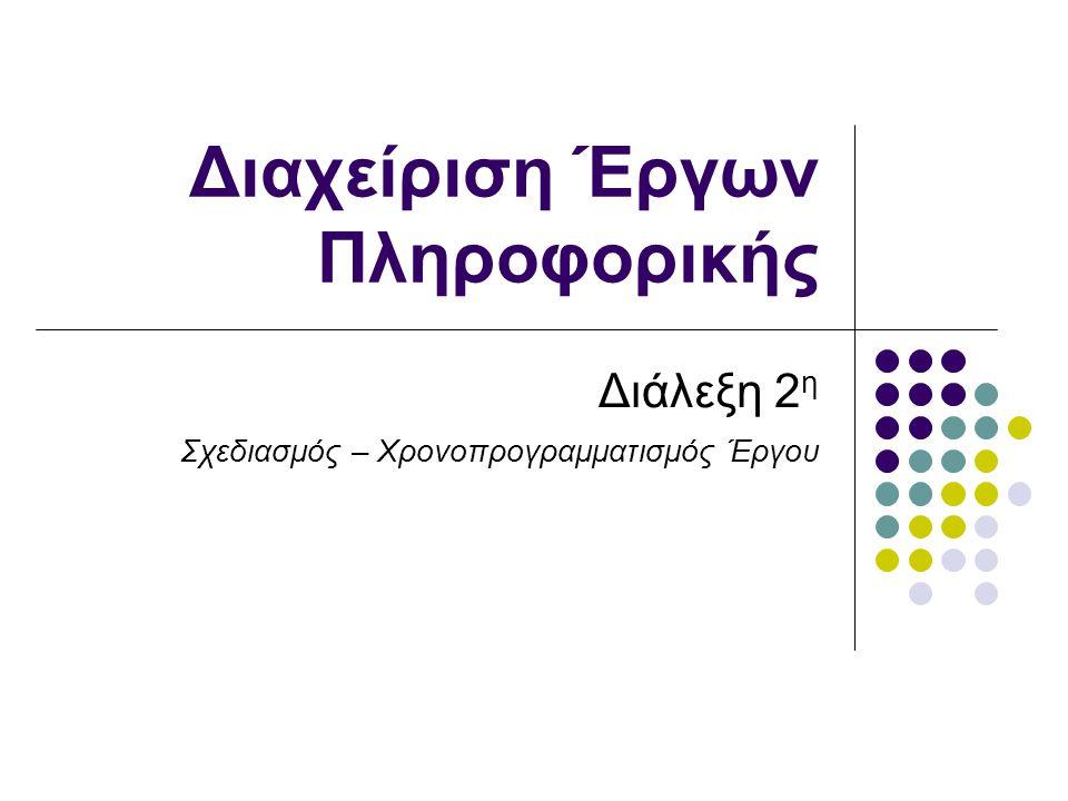 Διαχείριση Έργων Πληροφορικής, 2010-11 Τι περιλαμβάνεται στη διαχείριση ενός έργου; Προγραμματισμός, εκτέλεση και έλεγχος Καθορισμός έργου, ανάθεση αρμοδιοτήτων Διαχείριση χρόνου Διαχείριση κόστους Διαχείριση ποιότητας Διοίκηση ανθρωπίνων πόρων Διαχείριση επικοινωνίας Διαχείριση κινδύνου Διαχείριση διαδικασιών προμήθειας/αγορών