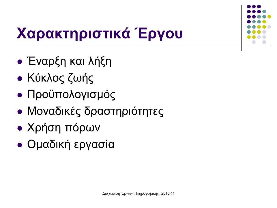 Διαχείριση Έργων Πληροφορικής, 2010-11 Αρχές κατασκευής τοξωτού δικτύου Κάθε δραστηριότητα παριστάνεται με ένα και μόνο βέλος Τα βέλη δείχνουν τις σχέσεις μεταξύ των δραστηριοτήτων Τα γεγονότα δεν έχουν διάρκεια (είναι στιγμιαία) Σε κάθε δίκτυο υπάρχει από ένα μόνο γεγονός έναρξης και πέρατος (κλειστά δίκτυα) Το δίκτυο δεν μπορεί να περιλαμβάνει ανακυκλώσεις Δύο διαδοχικά γεγονότα μπορούν να συνδέονται με μια μόνο δραστηριότητα (= δυο δραστηριότητες δε μπορούν να έχουν κοινή αρχή και κοινό τέλος) Πλασματικές δραστηριότητες (ψευδοδραστηριότητες)