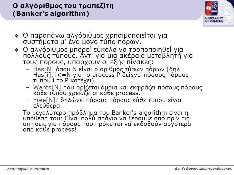Ο αλγόριθμος του τραπεζίτη (Banker s algorithm)  Ο παραπάνω αλγόριθμος χρησιμοποιείται για συστήματα μ ένα μόνο τύπο πόρων.