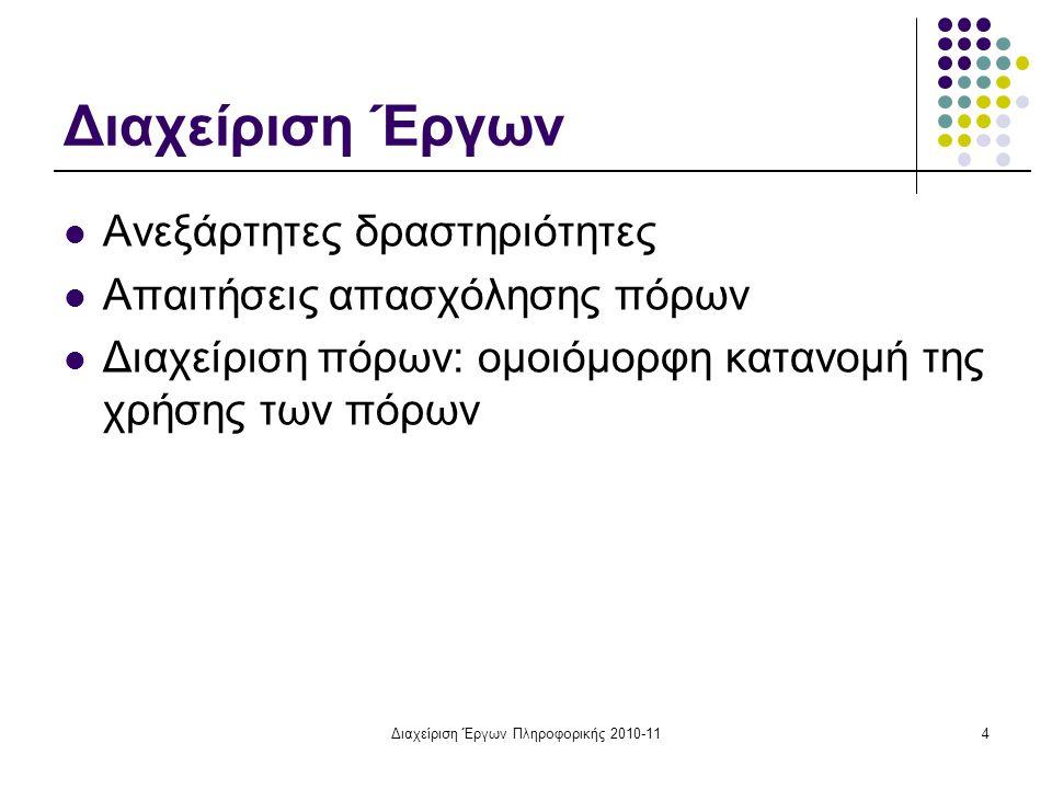 Διαχείριση Έργων Πληροφορικής 2010-115 Βασικές έννοιες και συμβολισμοί Α (i,j) : μέγεθος εργασίας της δραστηριότητας (i,j).