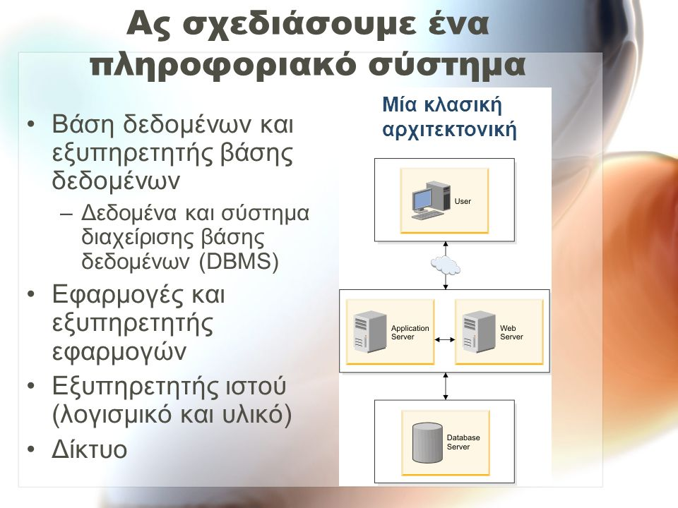 Ας σχεδιάσουμε ένα πληροφοριακό σύστημα Βάση δεδομένων και εξυπηρετητής βάσης δεδομένων –Δεδομένα και σύστημα διαχείρισης βάσης δεδομένων (DBMS) Εφαρμογές και εξυπηρετητής εφαρμογών Εξυπηρετητής ιστού (λογισμικό και υλικό) Δίκτυο Μία κλασική αρχιτεκτονική