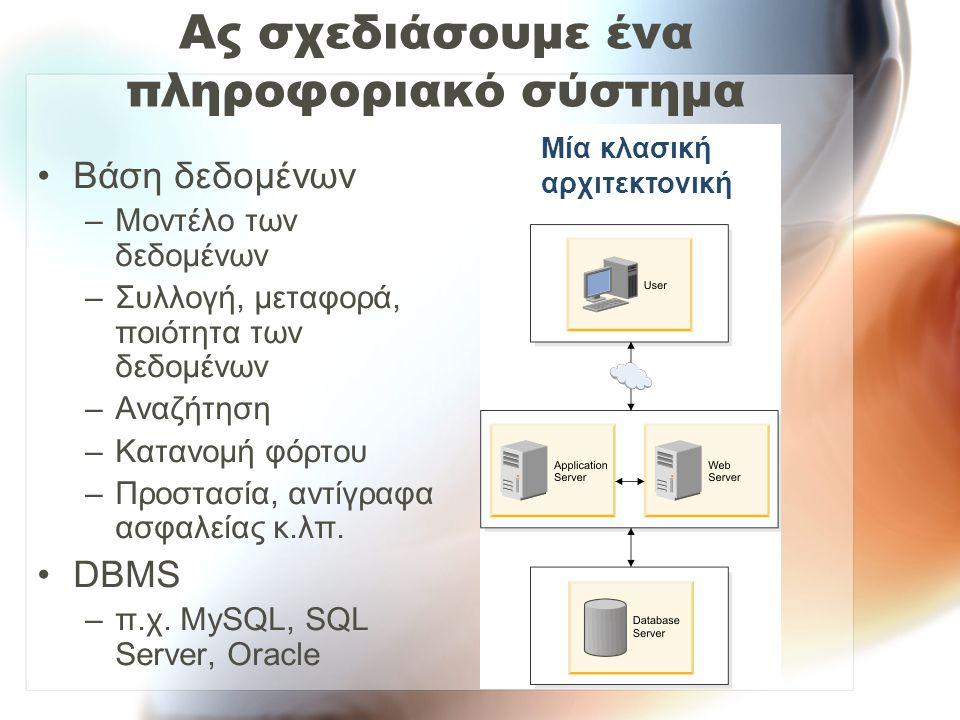 Ας σχεδιάσουμε ένα πληροφοριακό σύστημα Εφαρμογές –Η «λογική» της επιχείρησης/οργανισμού –Γλώσσα προγραμματισμού –Περιβάλλον ανάπτυξης λογισμικού –Μεθοδολογία –Προδιαγραφή απαιτήσεων, έλεγχος, ποιότητα (bugs, debugging) Μία κλασική αρχιτεκτονική