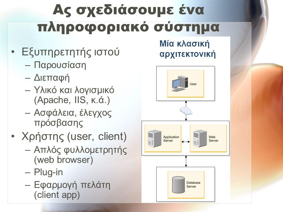 Ας σχεδιάσουμε ένα πληροφοριακό σύστημα Εξυπηρετητής ιστού –Παρουσίαση –Διεπαφή –Υλικό και λογισμικό (Apache, IIS, κ.ά.) –Ασφάλεια, έλεγχος πρόσβασης Χρήστης (user, client) –Απλός φυλλομετρητής (web browser) –Plug-in –Εφαρμογή πελάτη (client app) Μία κλασική αρχιτεκτονική