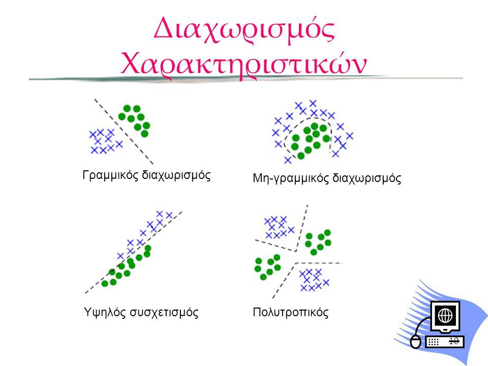 Διαχωρισμός Χαρακτηριστικών 10 Γραμμικός διαχωρισμός Μη-γραμμικός διαχωρισμός Υψηλός συσχετισμόςΠολυτροπικός