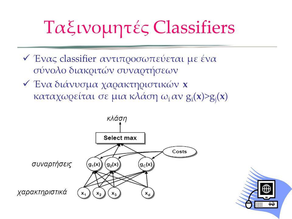 Ταξινομητές Classifiers Ένας classifier αντιπροσωπεύεται με ένα σύνολο διακριτών συναρτήσεων Ένα διάνυσμα χαρακτηριστικών x καταχωρείται σε μια κλάση