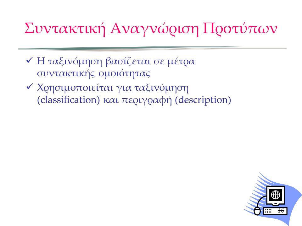 Συντακτική Αναγνώριση Προτύπων Η ταξινόμηση βασίζεται σε μέτρα συντακτικής ομοιότητας Χρησιμοποιείται για ταξινόμηση (classification) και περιγραφή (d
