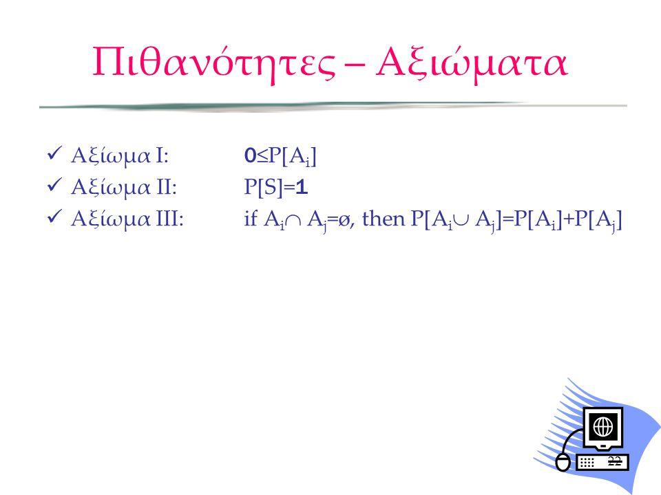 Πιθανότητες – Αξιώματα Αξίωμα I: 0 ≤P[A i ] Aξίωμα ΙΙ: P[S]= 1 Αξίωμα ΙΙΙ: if A i  A j =ø, then P[A i  A j ]=P[A i ]+P[A j ] 22