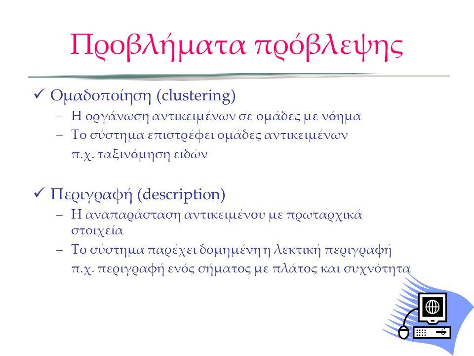 Προβλήματα πρόβλεψης Ομαδοποίηση (clustering) –Η οργάνωση αντικειμένων σε ομάδες με νόημα –Το σύστημα επιστρέφει ομάδες αντικειμένων π.χ. ταξινόμηση ε
