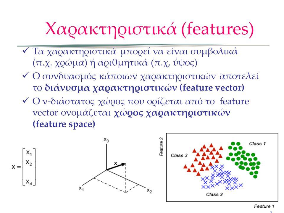 Χαρακτηριστικά (features) Τα χαρακτηριστικά μπορεί να είναι συμβολικά (π.χ. χρώμα) ή αριθμητικά (π.χ. ύψος) Ο συνδυασμός κάποιων χαρακτηριστικών αποτε