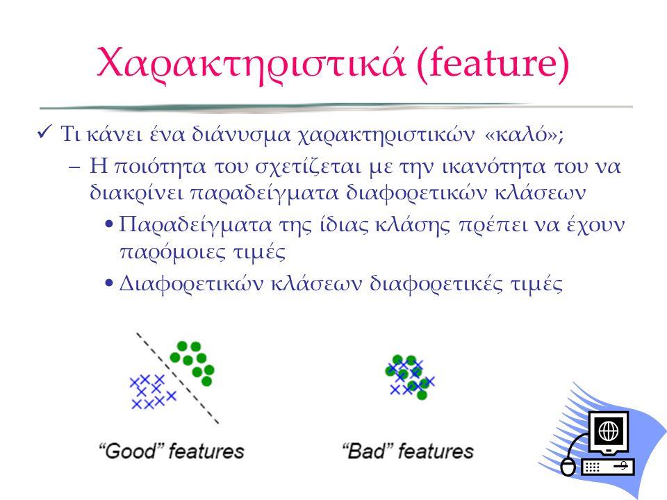 Χαρακτηριστικά (feature) Τι κάνει ένα διάνυσμα χαρακτηριστικών «καλό»; –Η ποιότητα του σχετίζεται με την ικανότητα του να διακρίνει παραδείγματα διαφο