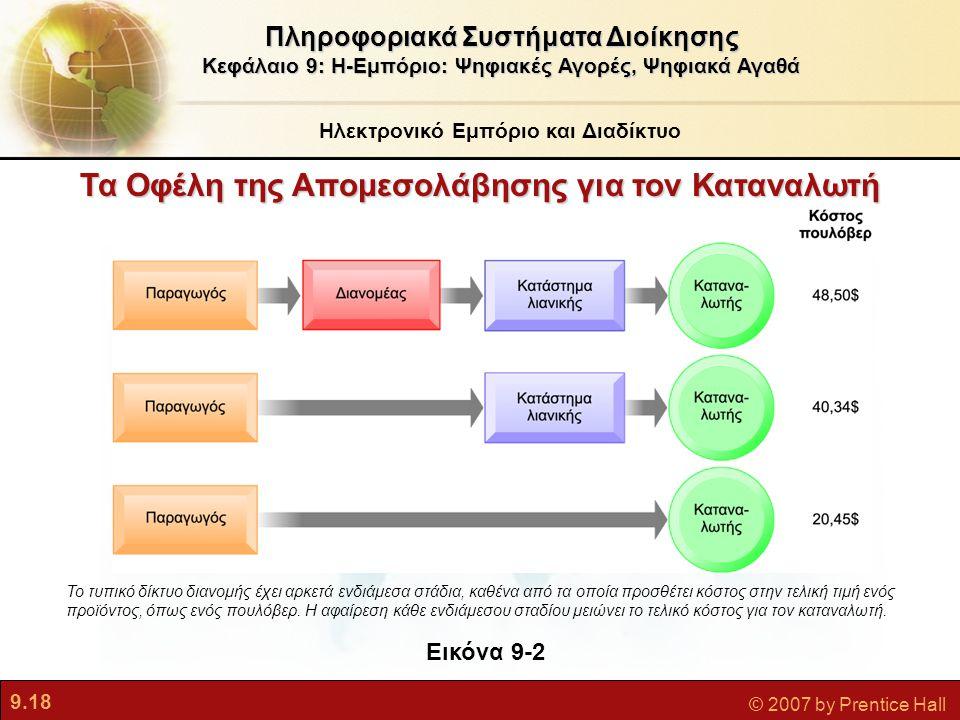 9.18 © 2007 by Prentice Hall Ηλεκτρονικό Εμπόριο και Διαδίκτυο Πληροφοριακά Συστήματα Διοίκησης Κεφάλαιο 9: Η-Εμπόριο: Ψηφιακές Αγορές, Ψηφιακά Αγαθά