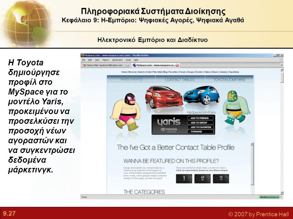 9.27 © 2007 by Prentice Hall Ηλεκτρονικό Εμπόριο και Διαδίκτυο Πληροφοριακά Συστήματα Διοίκησης Κεφάλαιο 9: Η-Εμπόριο: Ψηφιακές Αγορές, Ψηφιακά Αγαθά