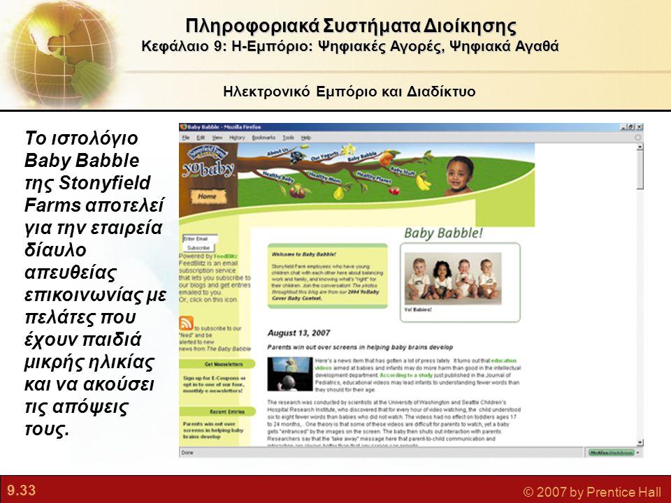 9.33 © 2007 by Prentice Hall Ηλεκτρονικό Εμπόριο και Διαδίκτυο Πληροφοριακά Συστήματα Διοίκησης Κεφάλαιο 9: Η-Εμπόριο: Ψηφιακές Αγορές, Ψηφιακά Αγαθά
