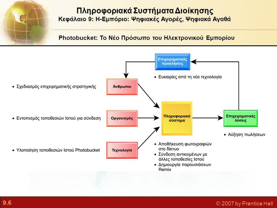9.7 © 2007 by Prentice Hall Ηλεκτρονικό Εμπόριο και Διαδίκτυο Πληροφοριακά Συστήματα Διοίκησης Κεφάλαιο 9: Η-Εμπόριο: Ψηφιακές Αγορές, Ψηφιακά Αγαθά Το Η-Εμπόριο Σήμερα  Η-Εμπόριο: Χρήση του Διαδικτύου και του Ιστού για την άσκηση επιχειρηματικής δραστηριότητας – για ψηφιακά διενεργούμενες συναλλαγές  Ξεκίνησε το 1995 και αναπτύχθηκε εκθετικά· συνεχίζει να αναπτύσσεται με ετήσιο ρυθμό 25%  Οι εταιρείες που επέζησαν από στο σπάσιμο της φούσκας των διαδικτυακών εταιρειών τώρα ευημερούν  Η επανάσταση του η-εμπορίου βρίσκεται ακόμη στα πρώτα στάδιά της