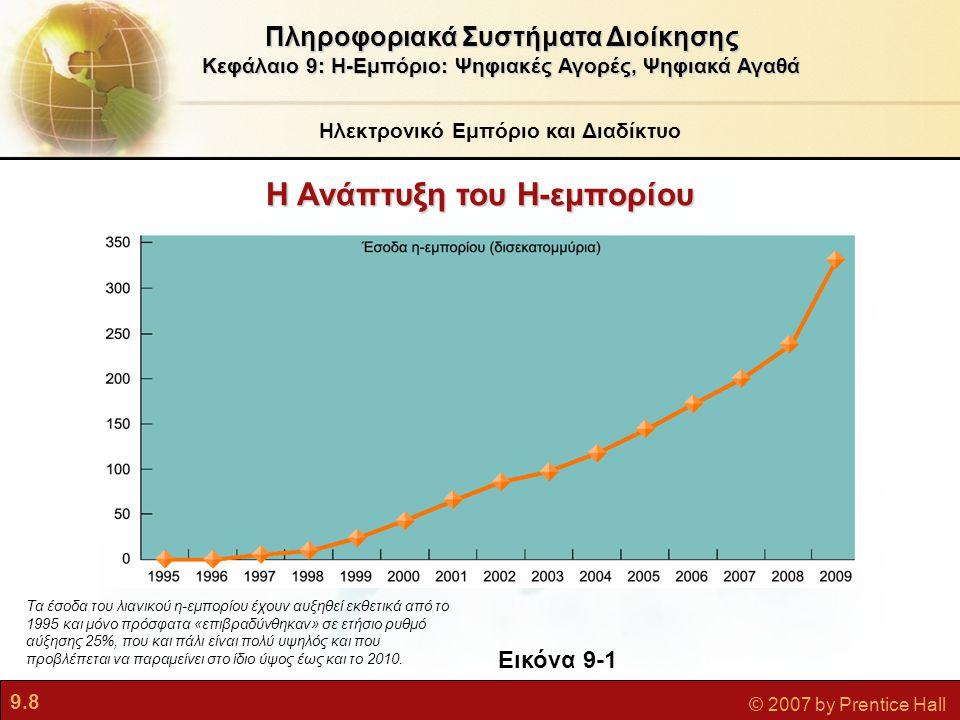 9.29 © 2007 by Prentice Hall Ανάπτυξη Σχέσεων με τον Πελάτη: Αλληλεπιδραστικό Μάρκετινγκ, Εξατομίκευση και Αυτοεξυπηρέτηση  Αλληλεπιδραστικό μάρκετινγκ και εξατομίκευση Οι τοποθεσίες Ιστού είναι πλούσια πηγή λεπτομερειών για τη συμπεριφορά, τις προτιμήσεις, και τις αγοραστικές συνήθειες των πελατών, οι οποίες μπορούν να χρησιμοποιηθούν για την προσαρμογή προωθητικών ενεργειών, προϊόντων, υπηρεσιών και τιμών Εργαλεία παρακολούθησης συνδεσμοδιαδρομής (clickstream tracking tools): Συλλέγουν δεδομένα για τις δραστηριότητες των επισκεπτών σε τοποθεσίες Ιστού  Χρησιμοποιούνται για τη δημιουργία εξατομικευμένων ιστοσελίδων Συνεργατικό φιλτράρισμα (collaborative filtering): Συγκρίνει δεδομένα ενός πελάτη με εκείνα άλλων πελατών για να κάνει προτάσεις για προϊόντα Ηλεκτρονικό Εμπόριο Πληροφοριακά Συστήματα Διοίκησης Κεφάλαιο 9: Η-Εμπόριο: Ψηφιακές Αγορές, Ψηφιακά Αγαθά