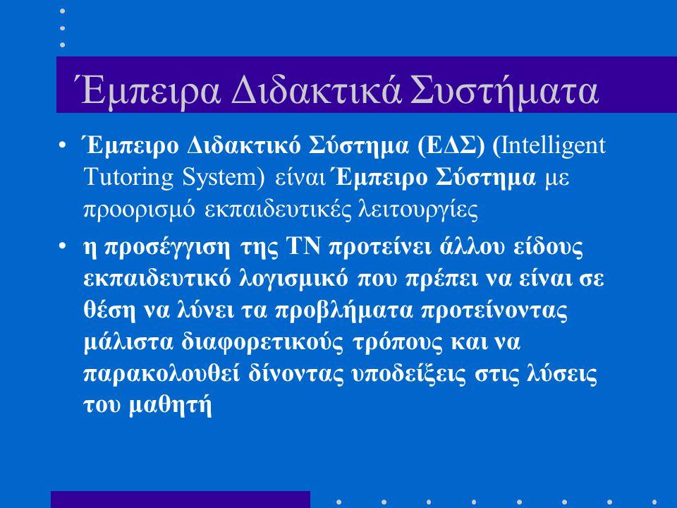 Έμπειρα Διδακτικά Συστήματα Έμπειρο Διδακτικό Σύστημα (EΔΣ) (Intelligent Tutoring System) είναι Έμπειρο Σύστημα με προορισμό εκπαιδευτικές λειτουργίες
