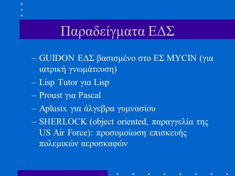 Παραδείγματα ΕΔΣ –GUIDON ΕΔΣ βασισμένο στο ΕΣ MYCIN (για ιατρική γνωμάτευση) –Lisp Tutor για Lisp –Proust για Pascal –Aplusix για άλγεβρα γυμνασίου –S