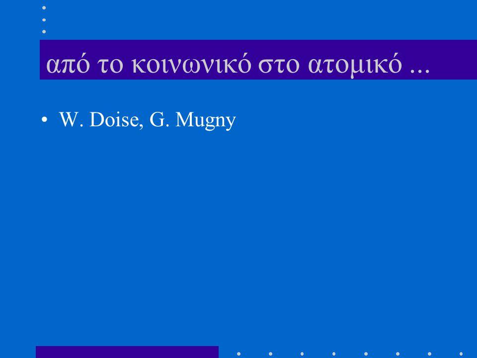 από το κοινωνικό στο ατομικό... W. Doise, G. Mugny