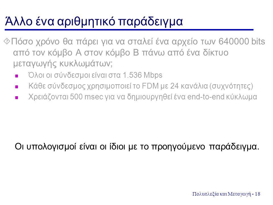 Πολυπλεξία και Μεταγωγή - 18 Άλλο ένα αριθμητικό παράδειγμα  Πόσο χρόνο θα πάρει για να σταλεί ένα αρχείο των 640000 bits από τον κόμβο Α στον κόμβο