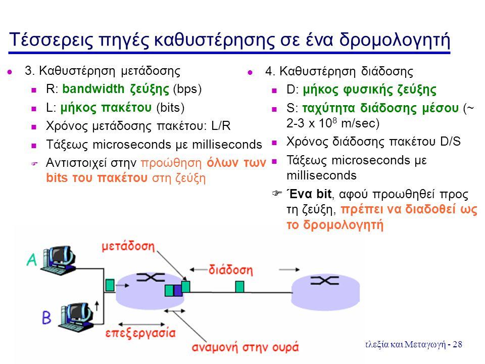 Πολυπλεξία και Μεταγωγή - 28 Τέσσερεις πηγές καθυστέρησης σε ένα δρομολογητή 3. Καθυστέρηση μετάδοσης R: bandwidth ζεύξης (bps) L: μήκος πακέτου (bits