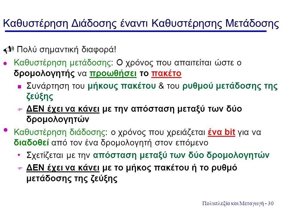 Πολυπλεξία και Μεταγωγή - 30 Καθυστέρηση Διάδοσης έναντι Καθυστέρησης Μετάδοσης  Πολύ σημαντική διαφορά! Καθυστέρηση μετάδοσης: Ο χρόνος που απαιτείτ