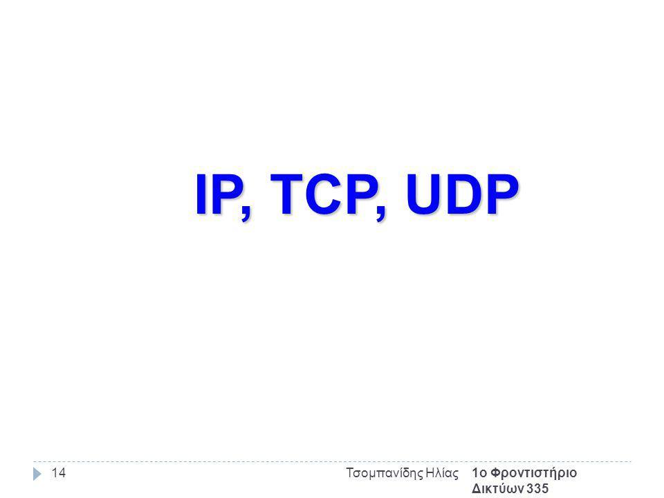 1ο Φροντιστήριο Δικτύων 335 Τσομπανίδης Ηλίας14 IP, TCP, UDP