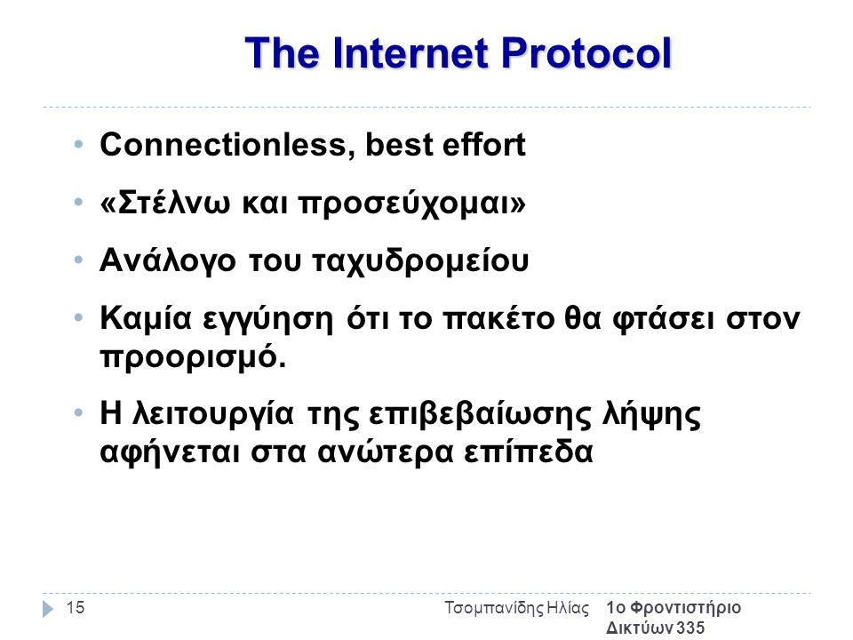 The Internet Protocol 1ο Φροντιστήριο Δικτύων 335 Τσομπανίδης Ηλίας15 Connectionless, best effort «Στέλνω και προσεύχομαι» Aνάλογο του ταχυδρομείου Καμία εγγύηση ότι το πακέτο θα φτάσει στον προορισμό.