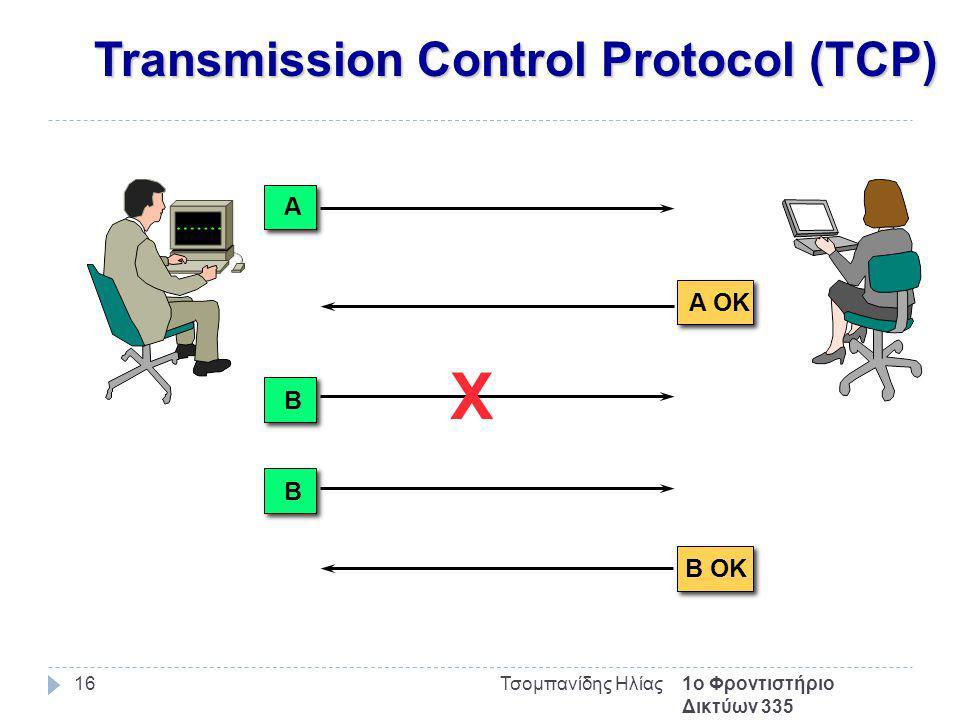 Transmission Control Protocol (TCP) 1ο Φροντιστήριο Δικτύων 335 Τσομπανίδης Ηλίας16 A B X B B OK A OK