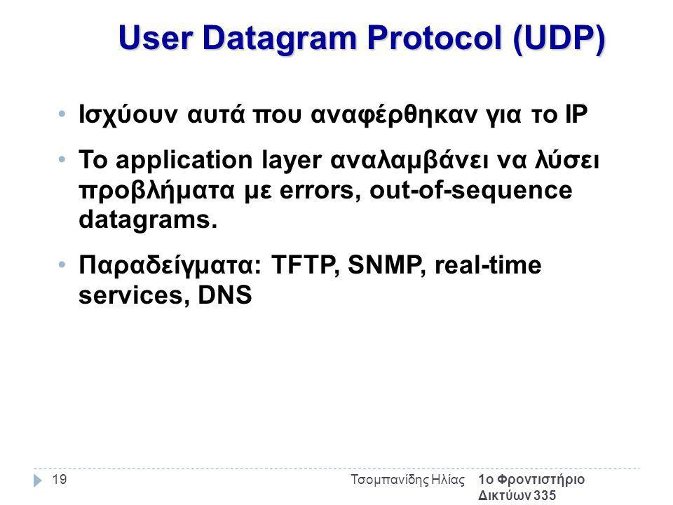 1ο Φροντιστήριο Δικτύων 335 Τσομπανίδης Ηλίας19 User Datagram Protocol (UDP) Ισχύουν αυτά που αναφέρθηκαν για το IP Το application layer αναλαμβάνει να λύσει προβλήματα με errors, out-of-sequence datagrams.