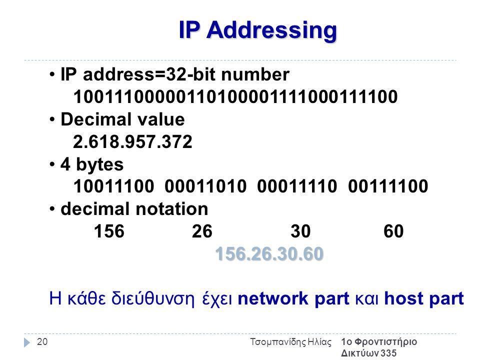 IP Addressing 1ο Φροντιστήριο Δικτύων 335 Τσομπανίδης Ηλίας20 IP address=32-bit number 10011100000110100001111000111100 Decimal value 2.618.957.372 4 bytes 10011100 00011010 00011110 00111100 decimal notation 156 26 30 60 156.26.30.60 Η κάθε διεύθυνση έχει network part και host part
