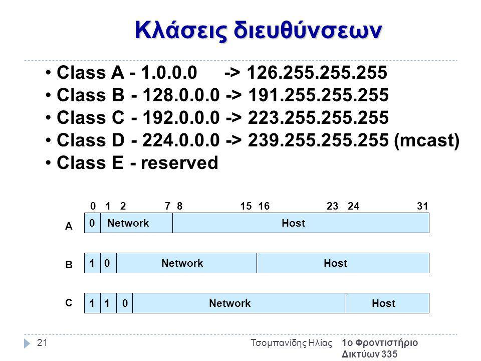 Κλάσεις διευθύνσεων 1ο Φροντιστήριο Δικτύων 335 Τσομπανίδης Ηλίας21 Class A - 1.0.0.0 -> 126.255.255.255 Class B - 128.0.0.0 -> 191.255.255.255 Class C - 192.0.0.0 -> 223.255.255.255 Class D - 224.0.0.0 -> 239.255.255.255 (mcast) Class E - reserved 0 Network Host 1 0 Network Host 1 1 0 Network Host 0 1 2 7 8 15 16 23 24 31 ABCABC