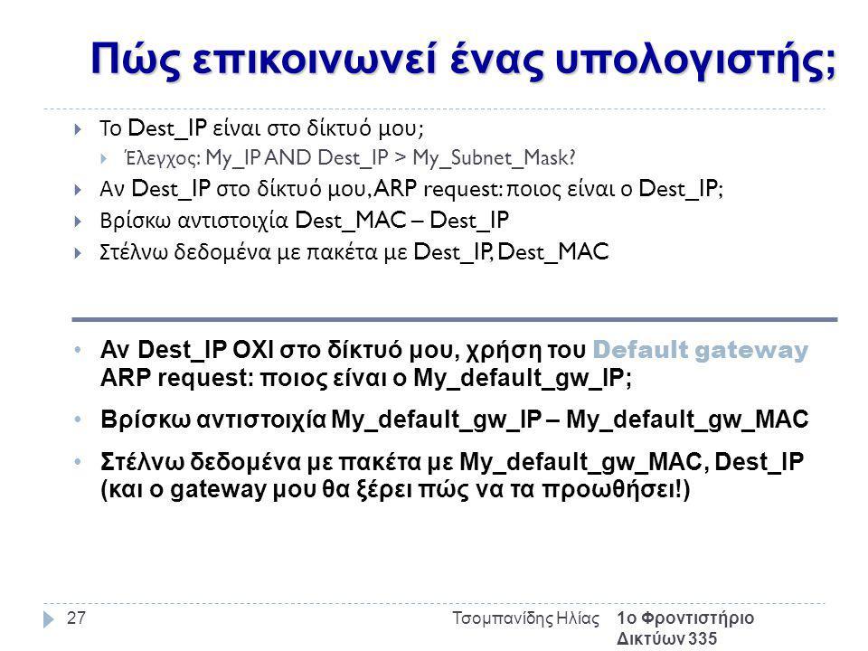 Πώς επικοινωνεί ένας υπολογιστής; 1ο Φροντιστήριο Δικτύων 335 Τσομπανίδης Ηλίας27  Το Dest_IP είναι στο δίκτυό μου ;  Έλεγχος : My_IP AND Dest_IP > My_Subnet_Mask.