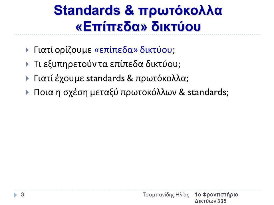 Standards & πρωτόκολλα «Επίπεδα» δικτύου 1ο Φροντιστήριο Δικτύων 335 Τσομπανίδης Ηλίας3  Γιατί ορίζουμε « επίπεδα » δικτύου ;  Τι εξυπηρετούν τα επίπεδα δικτύου ;  Γιατί έχουμε standards & πρωτόκολλα ;  Ποια η σχέση μεταξύ πρωτοκόλλων & standards;