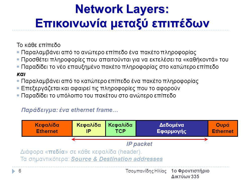 Network Layers: Επικοινωνία μεταξύ επιπέδων 1ο Φροντιστήριο Δικτύων 335 Τσομπανίδης Ηλίας6 Το κάθε επίπεδο  Παραλαμβάνει από το ανώτερο επίπεδο ένα πακέτο πληροφορίας  Προσθέτει πληροφορίες που απαιτούνται για να εκτελέσει τα «καθήκοντά» του  Παραδίδει το νέο επαυξημένο πακέτο πληροφορίας στο κατώτερο επίπεδοκαι  Παραλαμβάνει από το κατώτερο επίπεδο ένα πακέτο πληροφορίας  Επεξεργάζεται και αφαιρεί τις πληροφορίες που το αφορούν  Παραδίδει το υπόλοιπο του πακέτου στο ανώτερο επίπεδο Παράδειγμα: ένα ethernet frame… Κεφαλίδα Ethernet Ουρά Ethernet Κεφαλίδα IP Κεφαλίδα TCP Δεδομένα Εφαρμογής IP packet Διάφορα «πεδία» σε κάθε κεφαλίδα (header).