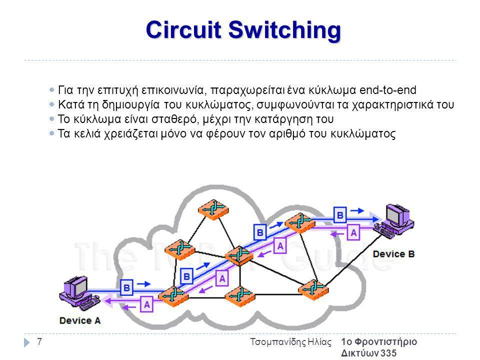 Circuit Switching 1ο Φροντιστήριο Δικτύων 335 Τσομπανίδης Ηλίας7  Για την επιτυχή επικοινωνία, παραχωρείται ένα κύκλωμα end-to-end  Κατά τη δημιουργία του κυκλώματος, συμφωνούνται τα χαρακτηριστικά του  Το κύκλωμα είναι σταθερό, μέχρι την κατάργηση του  Τα κελιά χρειάζεται μόνο να φέρουν τον αριθμό του κυκλώματος