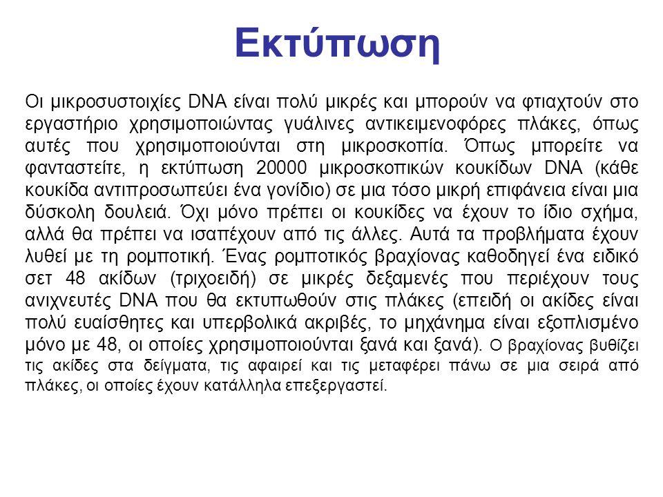 Εκτύπωση Οι μικροσυστοιχίες DNA είναι πολύ μικρές και μπορούν να φτιαχτούν στο εργαστήριο χρησιμοποιώντας γυάλινες αντικειμενοφόρες πλάκες, όπως αυτές