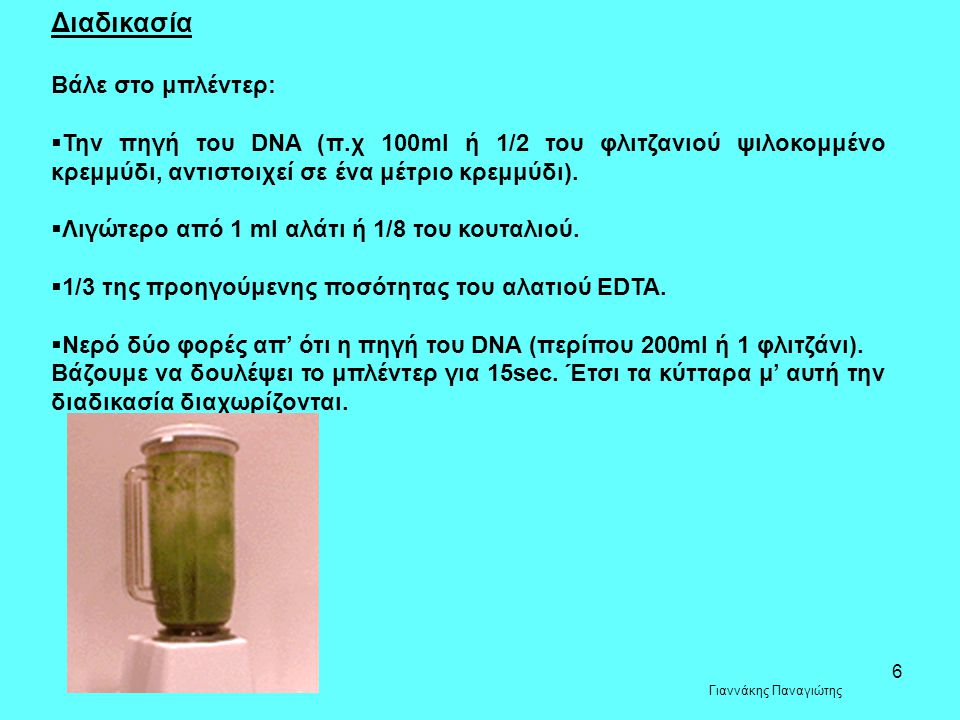 6 Διαδικασία Βάλε στο μπλέντερ:  Την πηγή του DNA (π.χ 100ml ή 1/2 του φλιτζανιού ψιλοκομμένο κρεμμύδι, αντιστοιχεί σε ένα μέτριο κρεμμύδι).