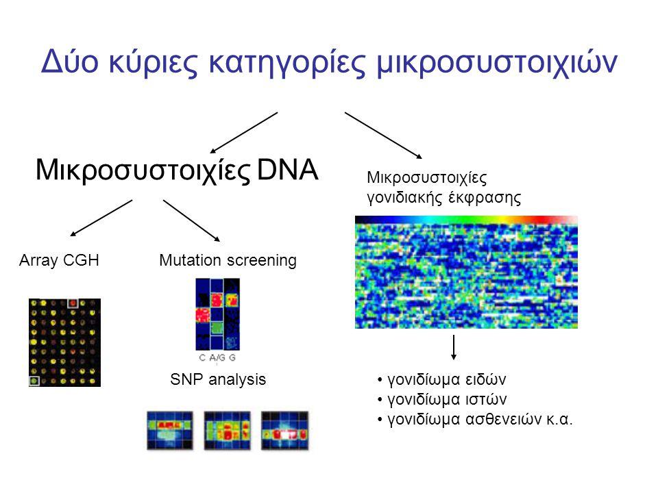 Δύο κύριες κατηγορίες μικροσυστοιχιών Μικροσυστοιχίες DNA Μικροσυστοιχίες γονιδιακής έκφρασης Array CGH Mutation screening SNP analysis γονιδίωμα ειδών γονιδίωμα ιστών γονιδίωμα ασθενειών κ.α.